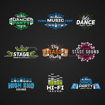 Sixth set music equalizer emblem vector on dark background. Modern colorful logo collection. Sound system illustration