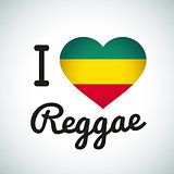 I love Reggae Heart illustration, Jamaican music logo design. Africa flag print