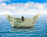 Ship from money on water