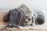 wool grey scarf with tassels
