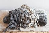 wool grey scarf with tassels