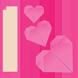 Vector paper origami pink heart greeting card