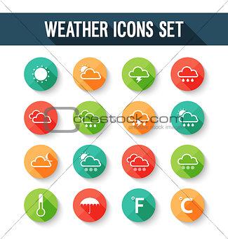 Flat weather icons set.
