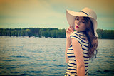 sunny day on the lake in white . vintage color