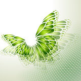 Abstract green background with butterfly