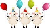 Birthday sheeps with balloons