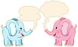 Cute couple elephants with speech balloons