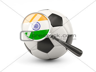 Football with magnified flag of india