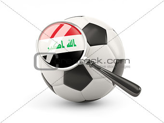 Football with magnified flag of iraq