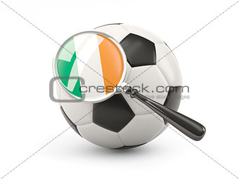 Football with magnified flag of ireland