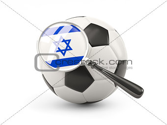 Football with magnified flag of israel