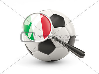 Football with magnified flag of italy