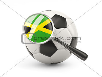 Football with magnified flag of jamaica