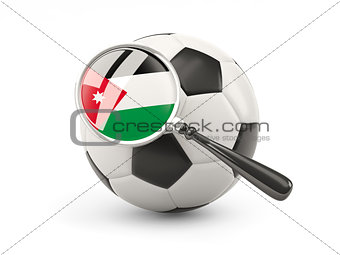 Football with magnified flag of jordan