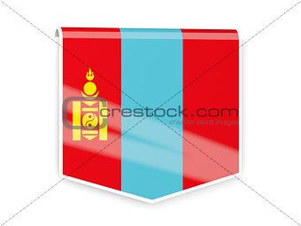 Flag label of mongolia