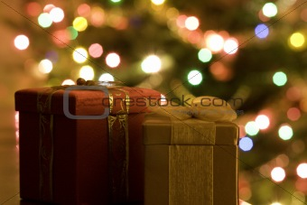 A Red and a Gold Christmas Present in Front of a Christmas Tree