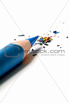 blue pencil and shavings
