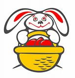 rabbit and a basket with eggs