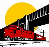 Diesel train passing under bridge