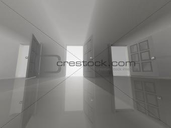 Three opened doors