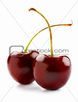 Isolated red cherries