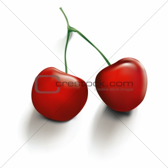 Vector Illustration of Red Cherries