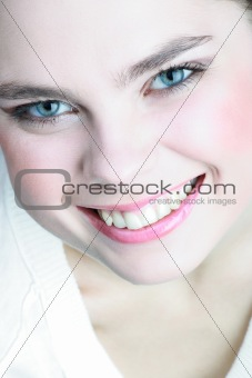 beautiful female smile with perfect healthy teeth