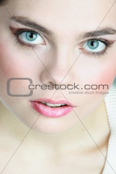 A young woman with beautiful green eyes
