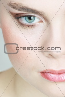 A portret of young woman with blush