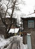 Old wooden street in a ravine. Kazan.