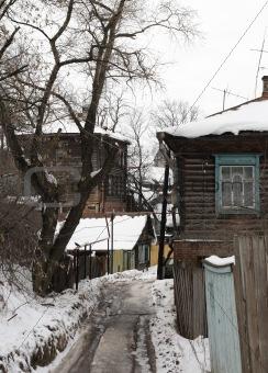 Old wooden street in a ravine. Kazan.