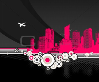 City with circles on black background. Vector