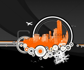 City and nature with circles on black background. Vector