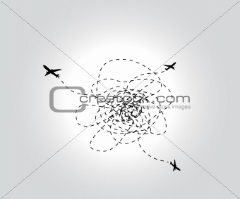 Three flying airplanes. Vector