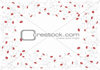 Small red flowers. Vector art