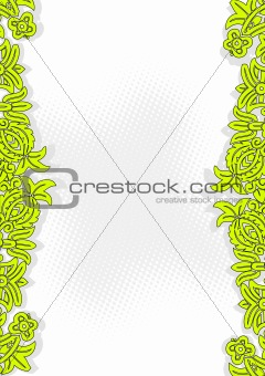Green flowers with place for text. Vector