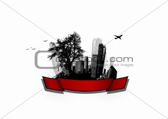 City with tree. Vector art