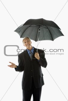 Man holding umbrella.