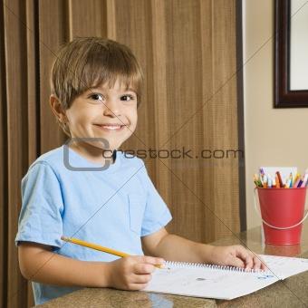 Boy with homework.