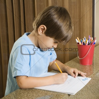 Boy doing homework.
