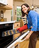 Woman baking.