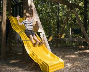 Boy on slide.
