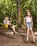 Kids on swing set.