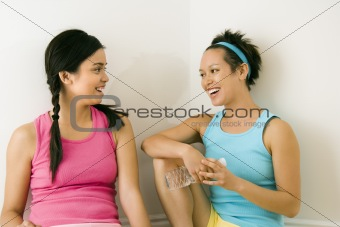 Young women talking