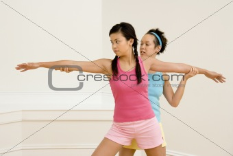 Fitness instructor and student