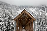 Long Snowy Wooden Covered Bridge Washington