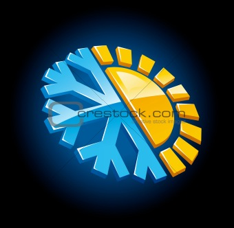 climate symbol icon winter and summer