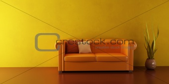 lounge room with leather couch