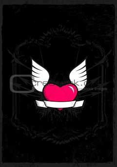 Pink heart with black background. Vector