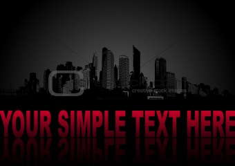 City with place for text on black background. Vector